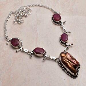 Biwa Pearl Ruby Ethnic Handmade Necklace Jewelry 27 Gms AN 65417