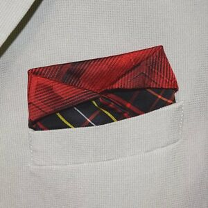 """Pocket Square made with Vintage Kimono Fabric Gift for Him """"Red Rover"""""""