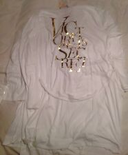 Victorias Secret Angels White Cotton Blend Robe Gold Lettering NWT in package M