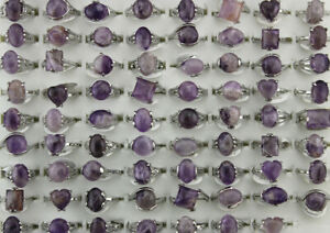 Wholesale Mixed Lots 35pcs Purple Natural Stone Jewelry Silver P Women Lady Ring