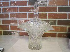 VINTAGE LEAD CRYSTAL CLEAR CUT GLASS FLORAL DIAMOND BUTTON DESIGN BASKET