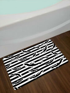 Black White Striped Shower Curtain Halloween Bats For Bathroom Decor w/ Hooks