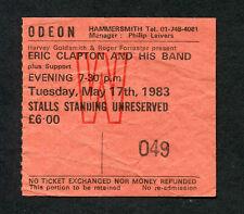 1983 Eric Clapton concert ticket stub Hammersmith Odeon London Money Cigarettes
