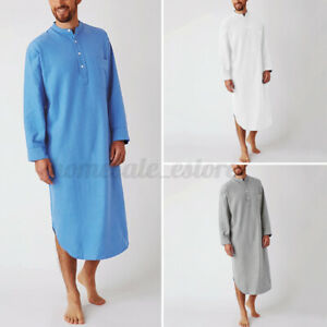 US STOCK Mens Long Sleeve Pajamas Shirts Nightshirt Dressing Gown Nightwear Robe