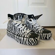 Black White Zebra Tall Platform Converse