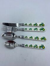 4 Piece Flateware John Deere tractor Gibson Dinner Knife 2-Spoons Fork Plastic