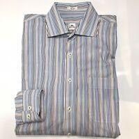 Peter Millar Mens Large Multi-Color Striped Button Up Dress Shirt Long Sleeve