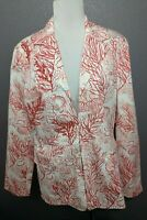 NWT New Coldwater Creek Women's Size 12 Jacket Coral Reef Pink White Beaded