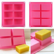 6-cavity Rectangle Soap Mold Silicone Mould Tray for Homemade DIY Making UK