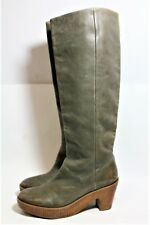 MAISON MARTIN MARGIELLA SHOES GRAY LEATHER KNEE HIGH CLOG PLATFORM BOOTS 8.5