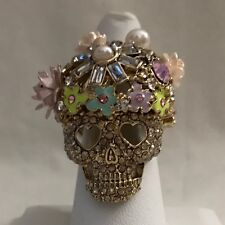 Betsey Johnson 7 Pink Skull Cocktail Ring Gold Tone Flowery Glitter
