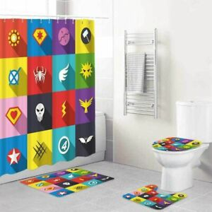 Superhero Logo Bathroom Rugs Shower Curtain Non-Slip Toilet Lid Cover Bath Mat
