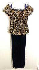 Size 4 Alyce Designs Venetian look embellished top over black velvet skirt