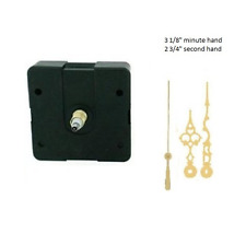 """Clock Movement Mechanism Quartex with 3 1/8"""" Gold Serpentine Hands Long Shaft"""