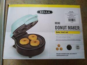 Bella Mini Donut Maker, aqua, makes 3 mini doughnuts, no stick, compact design