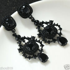 New Lady Woman Elegant crystal Rhinestone long Ear Studs Clip hoop earrings e625