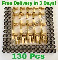 "(130 PCS) 1/2"" PEX CRIMP FITTINGS WITH COPPER CRIMP RINGS, BRASS PEX FITTINGS"