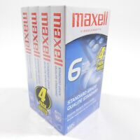 4-Pack Maxell T-120 6-Hour Standard-Grade VHS Blank Video Cassette Tapes SEALED