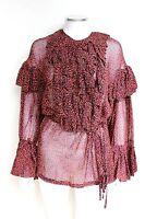 DRIES VAN NOTEN Red Cheyanne ruffled cotton blouse shirt top F42 UK 12-14