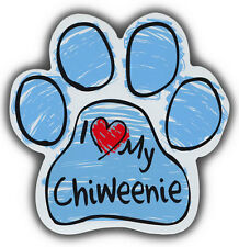 Scribble Paw Dog Magnets: I LOVE MY CHIWEENIE | Cars, Trucks, Refrigerators
