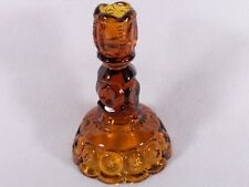 "L E Smith Moon & Star Amber Glass Single Light  6-1/4"" Candlestick Holder,EUC"