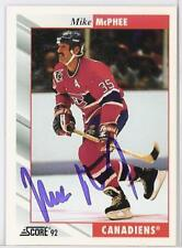MIKE  McPHEE Montreal Canadiens 1992 SCORE  AUTOGRAPHED HOCKEY CARD JSA