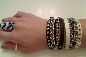 Trending Unique Multi Chain Silver Plated Leather Punk Buckle Bracelet