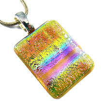 DICHROIC Fused Glass Silver PENDANT Slide Amber Copper Gold Blue Tie Dye Striped