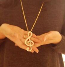 Halskette mit Notenschlüssel Note Musik Anhänger Kette Gold XL P121