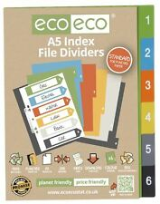 Conjunto de 1 X 6pk Eco-Eco A5 50% de plástico reciclado carpeta de archivo índice divisores