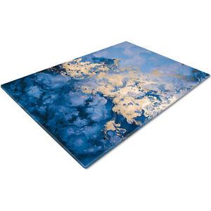 Glass Chopping Cutting Cutting Board Work Top Saver Large Blue Gold Design
