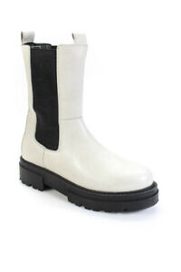 Vince Womens Retinsa Leather Combat Boots White Black Size 40 10