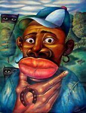 Original Art Cuban Painting Acrylic Canvas Santiago de Cuba C16   MI AMIGO PEPE