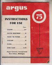 CIRCA 1952 CAMERA BOOKLET - ARGUS 75 - ARGUS CAMERAS INC ANN ARBOR MICHIGAN