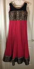Women's Red Black Gold Indian Party Dress With Sash Size Large