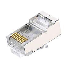 4x Clavija Conectores Ethernet RJ45 de Red Blindados Chapados Oro a3259