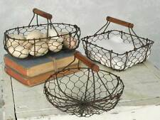 Decorative Farmhouse Style Set of 3 Chicken Wire Baskets - Green/Rust  460001