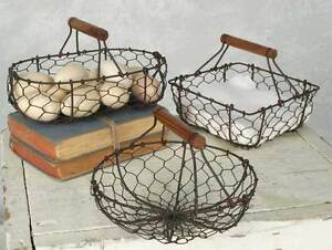 Decorative Farmhouse Style Set of 3 Chicken Wire Baskets - Green/Rust