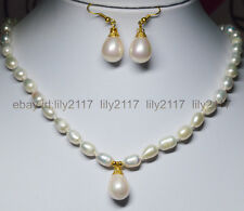 "Charm !7-9mm White Akoya Pearl + pink Shell Pearl Pendant Necklace 18"" Earrings"