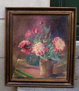 Ove Rosmund (1893) Interior with Pink Chrysanthemum. 1930s. Fine salon oil.