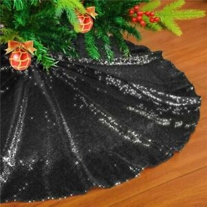 Christmas Tree Skirt Mat Cover New Year Home Decors 90/120cm Cloth Sequin Carpet