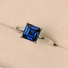 1.50 Ct Princes Natural Blue Sapphire Gemstone Ring 14K White Gold Rings Size M
