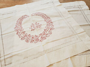 PAIR Antique VICTORIAN Red Work Embroidered Pillow Layover Shams Leafy Scroll