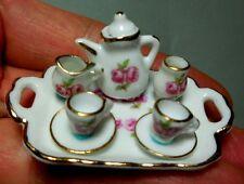 DOLLHOUSE MINIATURE ~ REUTTER PORCELAIN ROSE PATTERN TEA SET