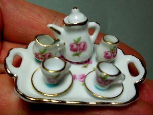 DOLLHOUSE MINIATURE ~ PINK ROSEBAND TEA SET ~ REUTTER PORCELAIN