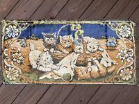 "Vintage Cat Kittens In Basket Wall Hanging Tapestry Rug -  39.5"" x 19"""