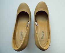 """Fiore Light Brown 4.5"""" Heels, 1"""" Platform With Pink & Silver Trim Shoes UK 4"""