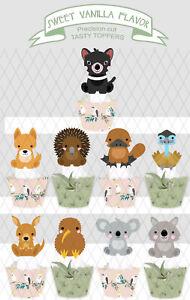 Australia Day Australian Animals dingo koala Party wafer Cupcake Topper cup cake