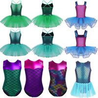 Girls Kids Ballet Dance Costume Mermaid Princess Leotard Tutu Skirt Party Dress