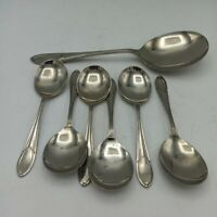Set of 6 Stainless Nickel Silver Fruit Spoons And Serving Spoon
